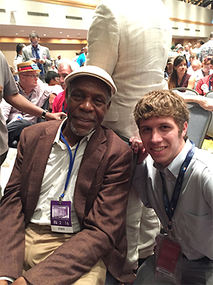 Weston Lindemann, with actor and activist Danny Glover, at the Democratic National Convention